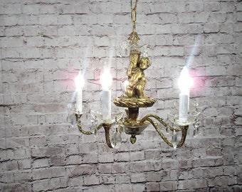 Vintage Antique Chandelier Bronze Cherub Crystal Restored Ornate