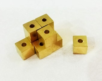 50 Pcs Raw Brass 6 x 6 mm Square Cube Beads, 2 mm Hole -Excellent quality