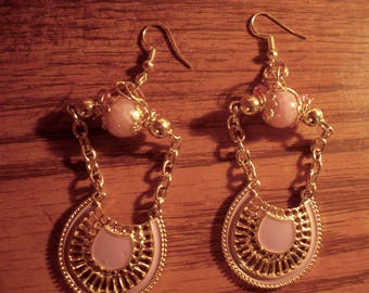 Pink and gold earrings by Jukeboxx Jewelry & Crochet