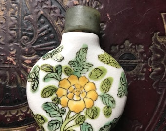 Porcelain Snuff Bottle with Jade Top