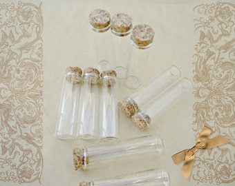 10 Glass Tubes W Corks - 60x15mm Clear Glass vials with cork stoppers, Set of 10 Test Tubes