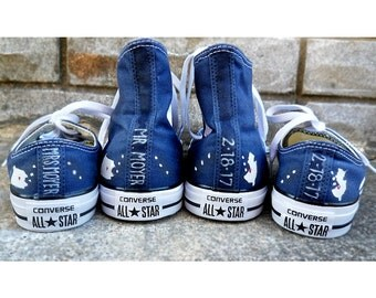 Custom Bride and Groom Home State Converse Wedding Converse, Low and High Tops, Mr. & Mrs., Custom Converse, wedding shoes, Painted Converse
