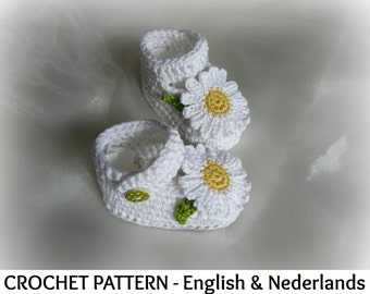 English + Dutch Pattern -  Baby Shoes Daisy  0 - 12  months