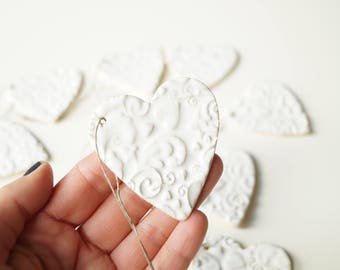 Guest Favors, Set of 10,  Heart Ornament Favors, Wedding Favors, Wedding Ornament, Wedding Day Decor, Heart Ornament, Hanging Ornament