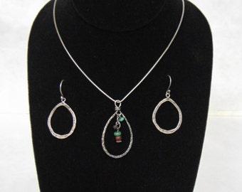 Womens Sterling Silver Earrings, Necklace & Pendant Set, 12.07g E2585