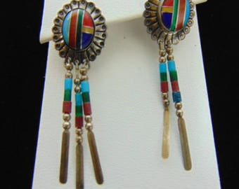 Vintage Estate Sterling Silver Southwestern Design Earrings, 4.4g E3051