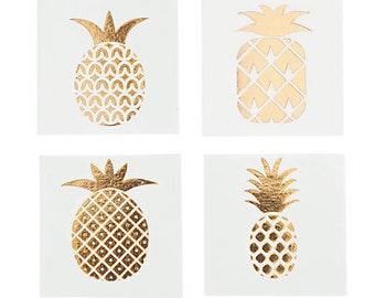 24/ Golden Pineapple tattoos  / Luau Party / Luau Theme / Pineapple theme / party favors
