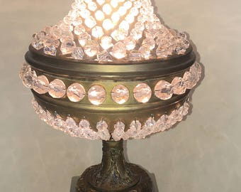Antique Urn beaded crystal brass & marble table desk lamp