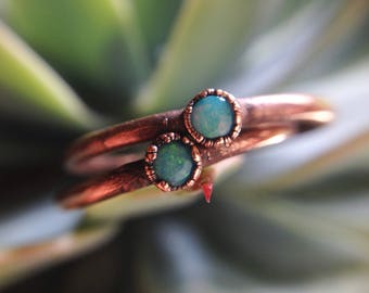 Coober Pedy | Dainty Coober Pedy Opal | Opal Ring | Dainty Opal Ring | Copper Opal Ring | Made-To-Order