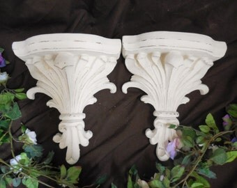 Antique White Wall Sconce, Set of 2 Matching Shelves.  Large Ornate Filigree, Vintage, Hand Painted, Distressed, Baroque, Shabby Chic