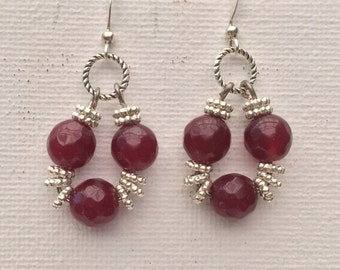 Ruby bead earrings