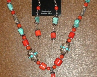 Turquoise & Coral Bead Necklace Earrings Set Sterling Silver