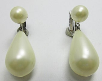 Bold Vintage 1950s Signed Marvella Faux Pearl Drop Earrings