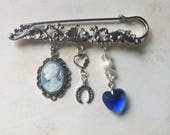 Something old new borrowed and blue bridal pin wedding tradition bridal gift ornate kilt pin something blue brooch bridal brooch