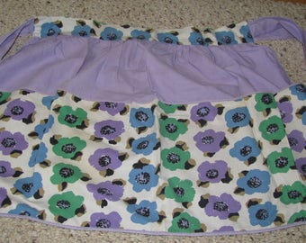Vintage Purple, Green and Blue Pansy Apron