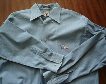 Men's Designer Faconnable Chambray Shirt Size Medium