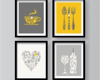 Set Of 4 Unique Lovely Kitchen Decor Collection Yellow Grey White Kitchen Wall Art