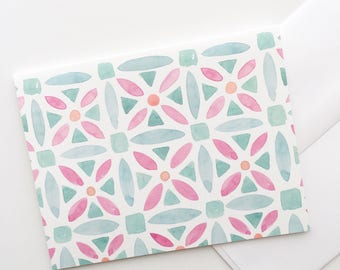 Geometric Watercolor Notecards by Louise Dean