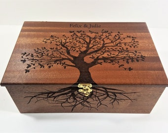 Personalized Electronic Large Music Box ANY Song, Tree of Life Music Jewelry Box, Laser Engraved Digital Music Box, Custom Music Memory Box
