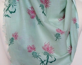 Women's green thistle scarf - pink thistle head on green scarf - thistle wrap - in 100% cotton