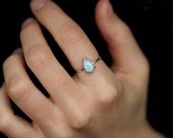 Light Blue Pear Shape Larimar Ring. Larimar Ring. Pear Larimar Ring. Light Blue Ring.