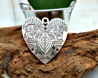 Bohemian style heart design pendant Aztecs aged silver 38mm x 38mm