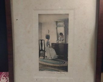 Antique Framed Hand Colored Photograph The Lady in the Mirror by Wallace Nutting, Signed c.1910s