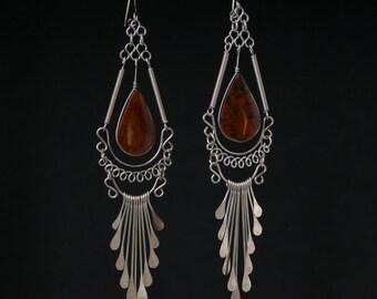 """Boho Earrings Bohemian Earrings 4"""" Long Silver Chandelier Great Gift For Her dangle earrings ethnic earrings gypsy earrings jewelry"""