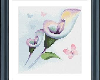 Flower Cross Stitch, Cross Stitch Flowers, Butterfly Cross Stitch, Floral Cross Stitch, Retro cross stitch, Calla Lilies H191
