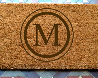 door mat  Initial Monogram engraved coir door mat Size: 400 x 600 mm   UK Based
