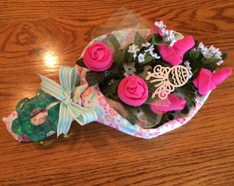 Baby Sock Rose Bouquet,  Handmade Infant Sock Baby Shower Arrangement, New Mother Gift, Baby Shower gift, Unique Baby gift