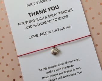 Thank You teacher wish bracelet - personalised gift for teacher - end of term gift - Best Teacher charm bracelet - Graduation gift