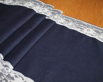 Navy Linen and Ivory Lace table runner weddings home decor dining