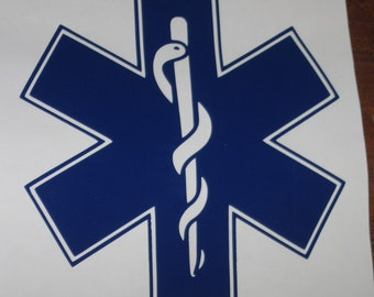 EMS Star of Life Vinyl Decal for Glass Block
