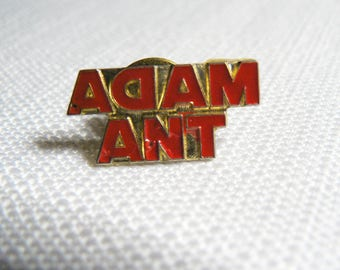 Vintage 80s Adam Ant Red Enamel Pin / Button / Badge