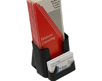Fixture Displays® 4 x 9 Brochure Holder for Tabletop or Wall, with Business Card Pocket - Black 19747