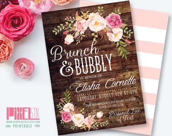 Rustic Floral Brunch and Bubbly, Bridal Shower Invitation, Shabby Chic Invite, Peony and Rose, Vintage Wood, Country Style, Boho Wedding