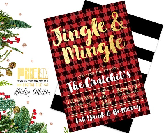 Jingle And Mingle Christmas Party Invitation Flannel Invite