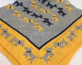 Yellow Silk Scotty Dog Scarf