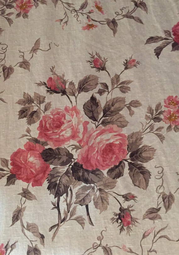 French Country Rose Floral Fabric Upholstery Fabric By