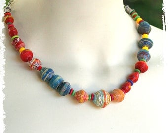 Beaded necklace, Boho short necklace, Colorful ethnic necklace, Paper anniversary gift for her, Artisan OOAK Necklace, Summer necklace