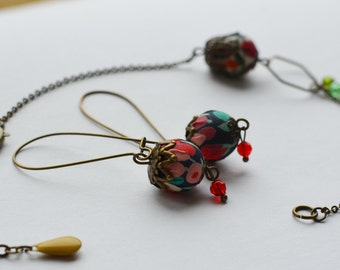 dangling earrings flowery liberty fabric and guaranteed without nickel brass