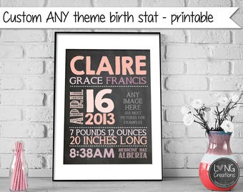 THEMED birth announcement - BIRTH STAT print - baby stats - custom wall art -  boy / girl - nursery decor - newborn photo prop - baby gift