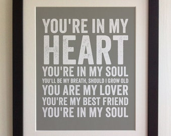 FRAMED Lyrics Print - Rod Stewart, You're in my Heart - 20 Colours options, Black/White Frame, Wedding, Anniversary, Valentines, Picture