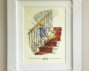 FRAMED Personalised Winnie the Pooh Print, Birth, Christening, Nursery Picture Gift, Pooh Bear, Framed or mounted, Choice of 3 frames