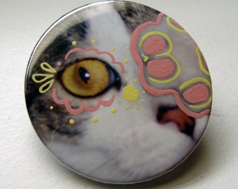 Hand-painted Mod Cat Pinback Button