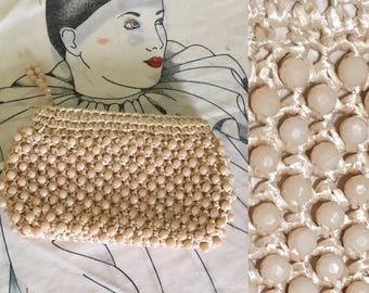 Vintage Ivory Straw and Beaded Clutch