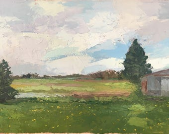Michigan - Original Oil Painting of a Rural Landscape Farm Scene with Barn and Trees
