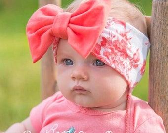 Coral Floral Print Headwrap - Baby Bow Headwrap