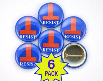 "Resist Anti-Trump 1"" Button Pin Brooch - 6-pack - Anti-Hate Anti-Far-Right America - Falsum - Inverted T - Upside Down T"